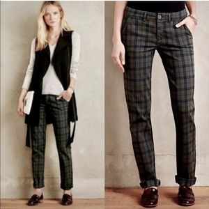 ANTHRO Pilcro Hyphen Plaid Chino Trouser Pants 27